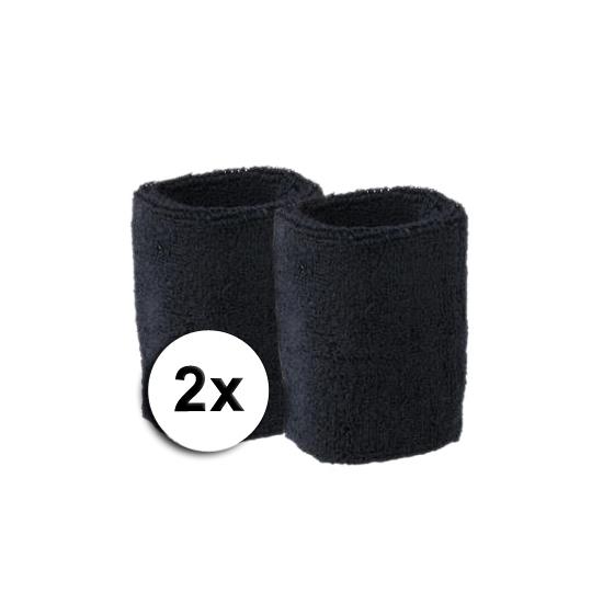 Voordelige zweetbandjes zwart 2 stuks