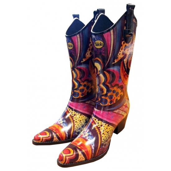 Vrolijke rubberen cowboy laarzen Floral