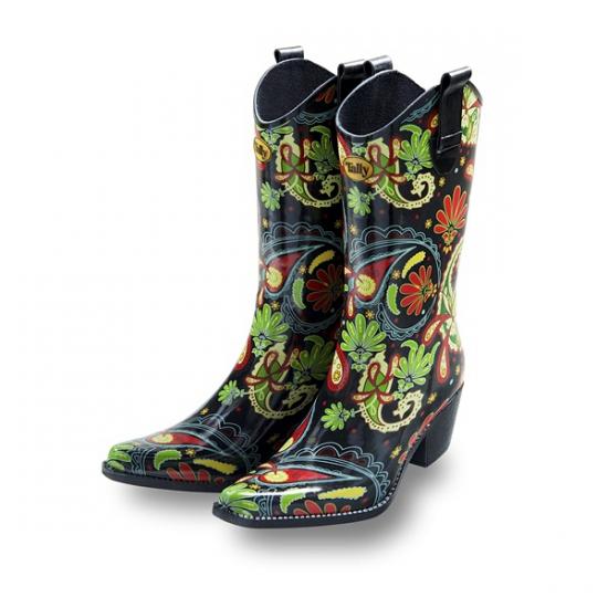 Vrolijke rubberen cowboy laarzen Paisley