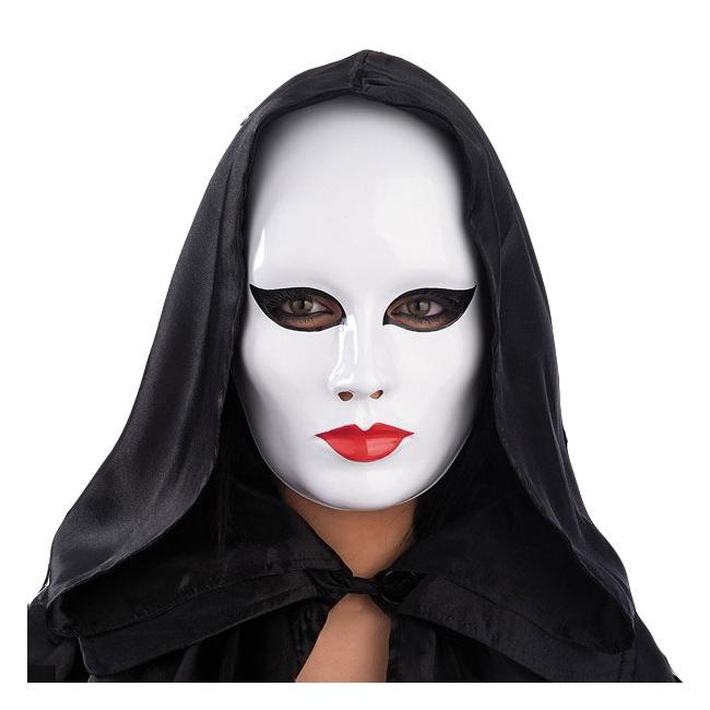 Vrouwen masker wit met rode lippen