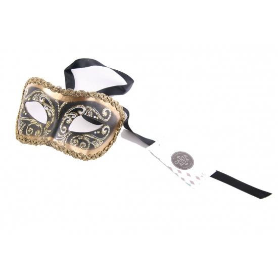 Wandversiering Italiaans oogmasker goud en zwart