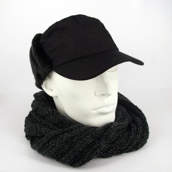 Winter petten met oorflappen zwart