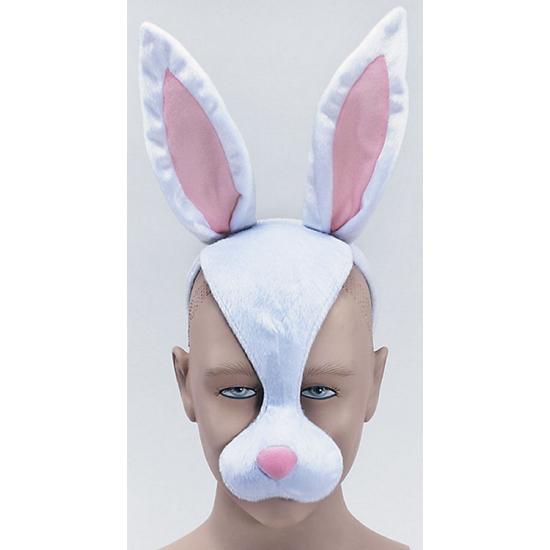 Wit konijnen masker met geluid op haarband