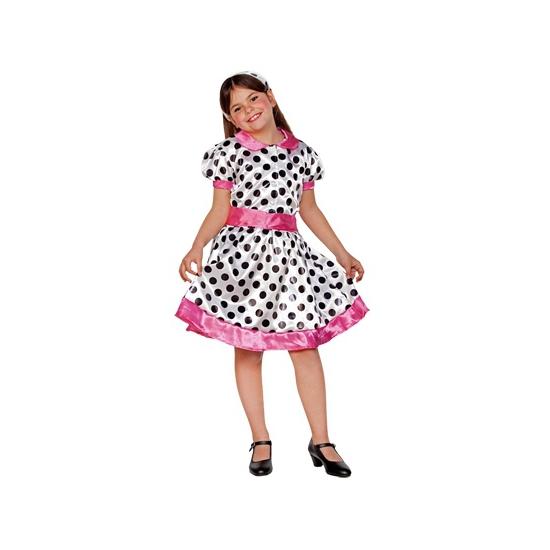 Wit roze 70s jurkje voor meiden