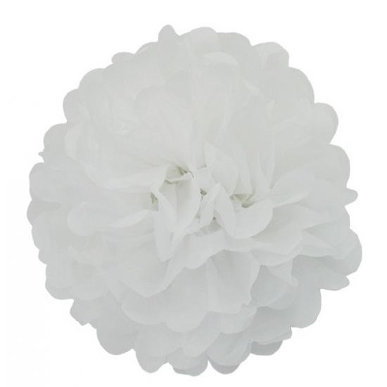 Witte bloem pompom 35 cm