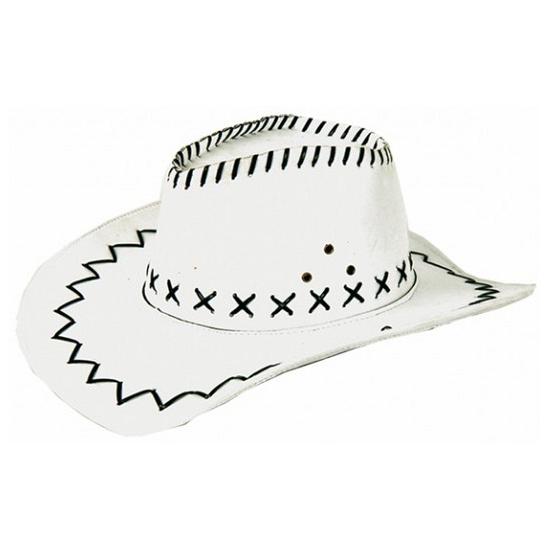 Witte cowboyhoed met zwarte stiksels