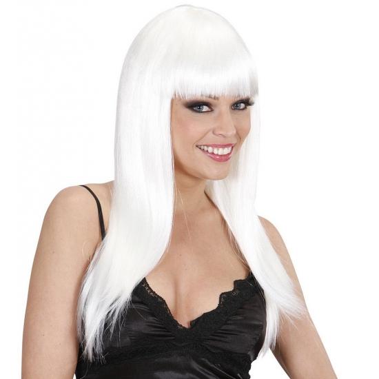 Witte damespruik met lang haar