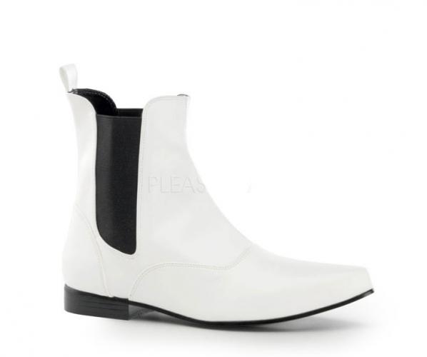 Witte enkelaarzen voor heren met zwart elastiek