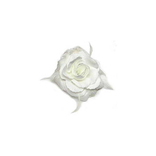 Witte glitter roos voor in het haar
