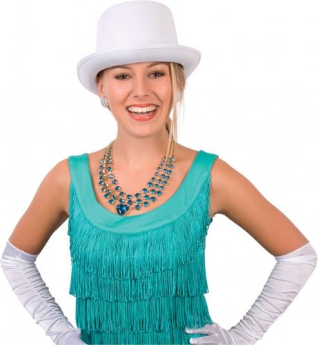 Witte hoge hoed satijn look