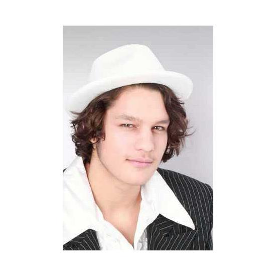 Witte kojak verkleed hoed