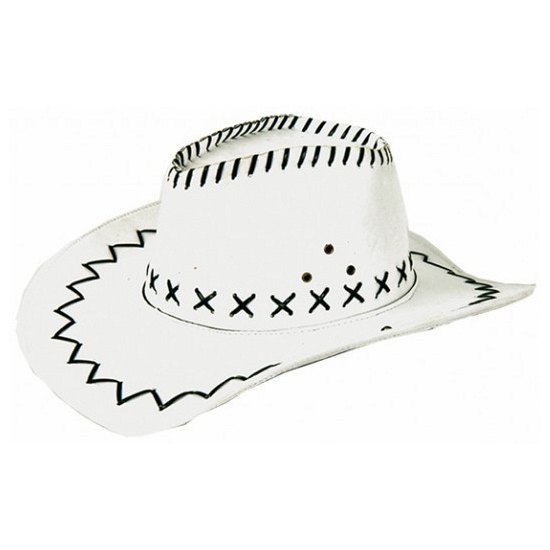 Witte lederlook cowboyhoed