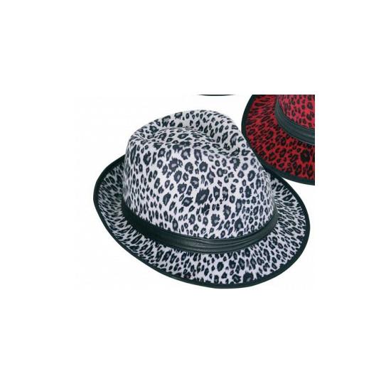 Witte party hoed met panter print