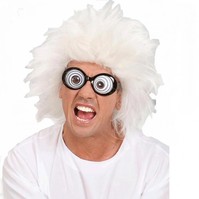 Witte pruik gekke professor