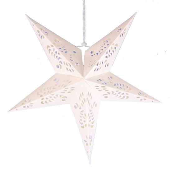 Witte ster lampionnen 60 cm