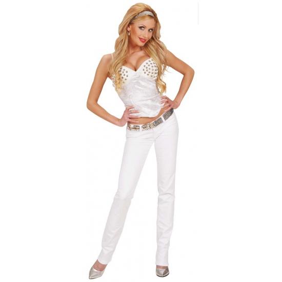 Witte verkleedkleding dames korset