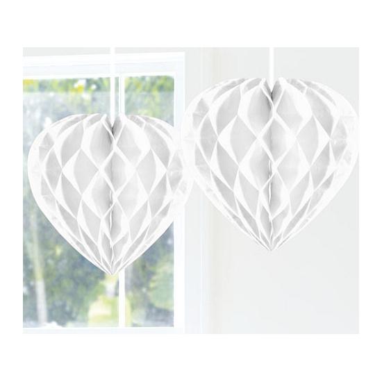 Witte versiering hart 30 cm