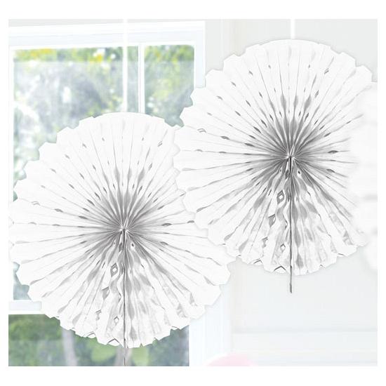 Witte versiering waaier 45 cm