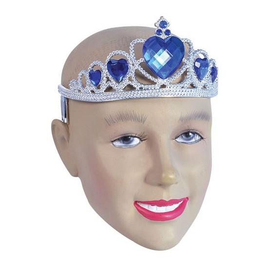 Zilveren dames tiara met blauwe harten