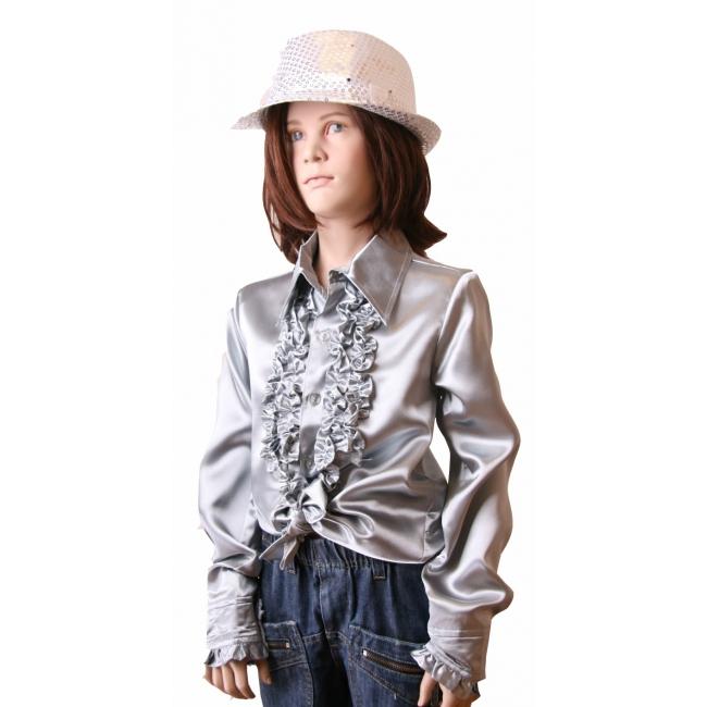 Zilveren disco blouse voor meisjes