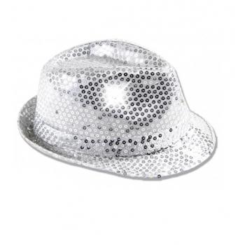Zilveren hoed voor volwassenen met licht