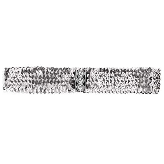 Zilveren pailletten riem 62 cm