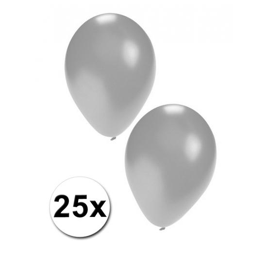 Zilveren party ballonnen 25x