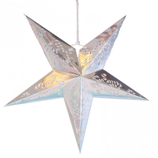 Zilveren ster lampionnen 60 cm