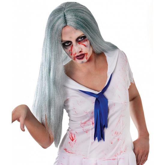 Zombie pruik met lang grijs haar