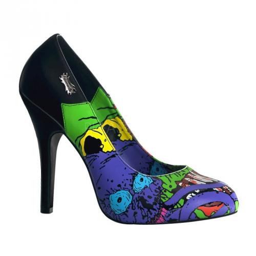 Zombie thema pumps blauw voor dames
