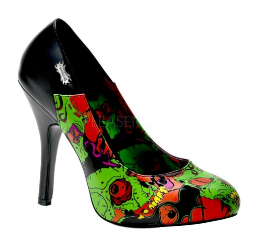 Zombie thema pumps groen voor dames