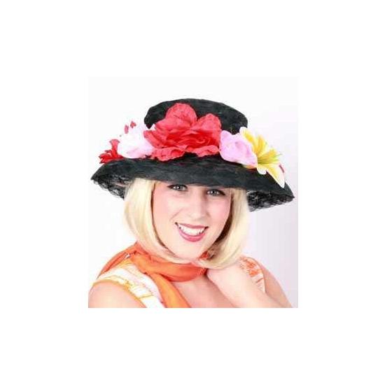 Zwart bloemenhoedje voor dames