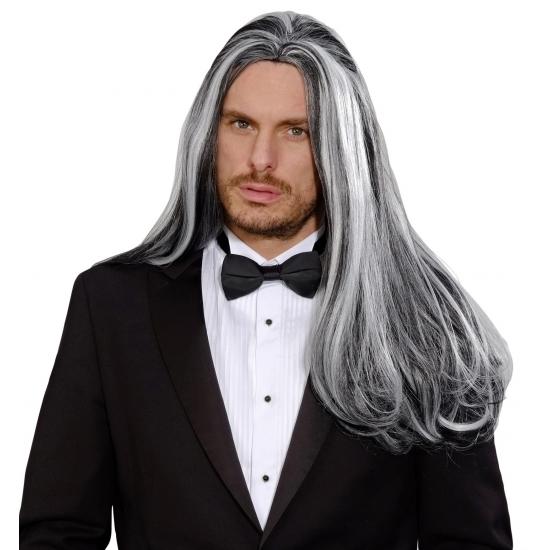 Zwart grijze pruik met lang haar