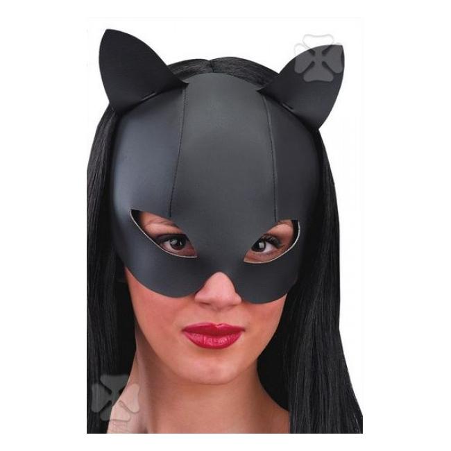 Zwart katten masker met leer look