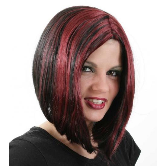 Zwart met rode bob pruik voor dames
