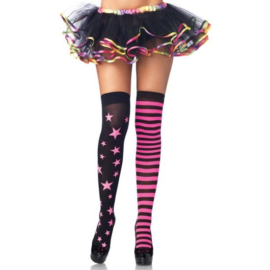 Zwart met roze dames kousen