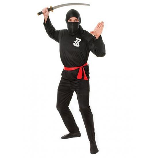 Zwart ninja kostuum met rode riem