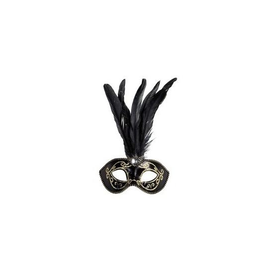 Zwart oogmasker met veren en gouden glitters