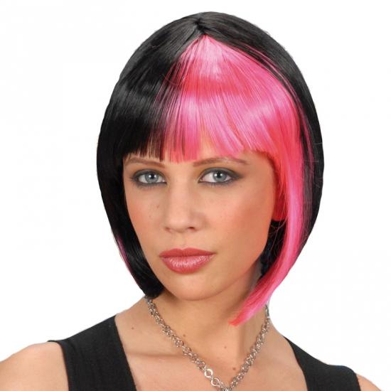 Zwart roze hippie boblijn pruiken