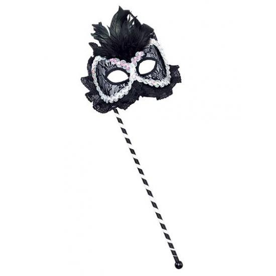 Zwart wit oogmasker op stokje met veren
