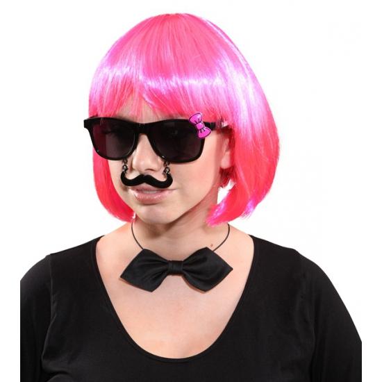 Zwarte bril met strikje en snor