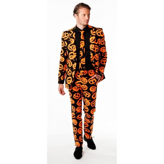 Zwarte business suit met oranje pompoenen