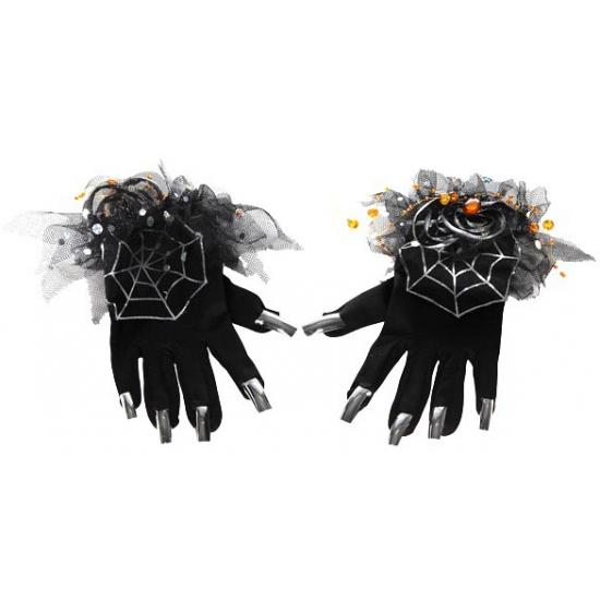 Zwarte dames halloween handschoenen
