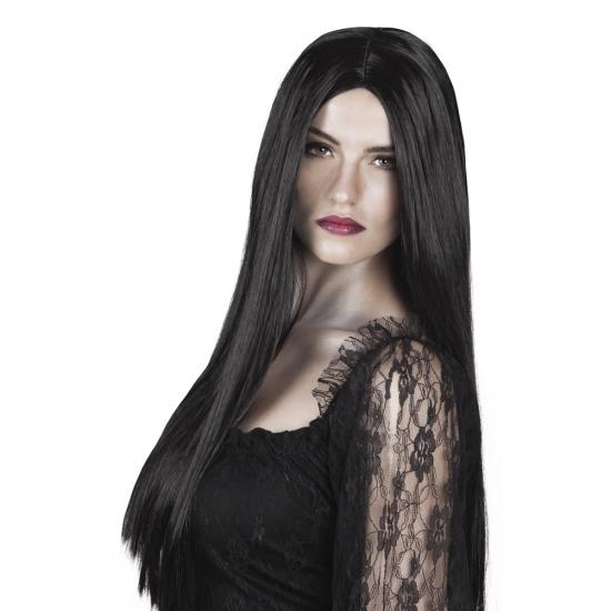 Zwarte heks verkleed pruik stijl haar