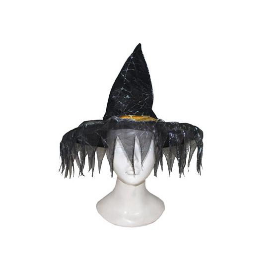 Zwarte heksenhoed met rafels