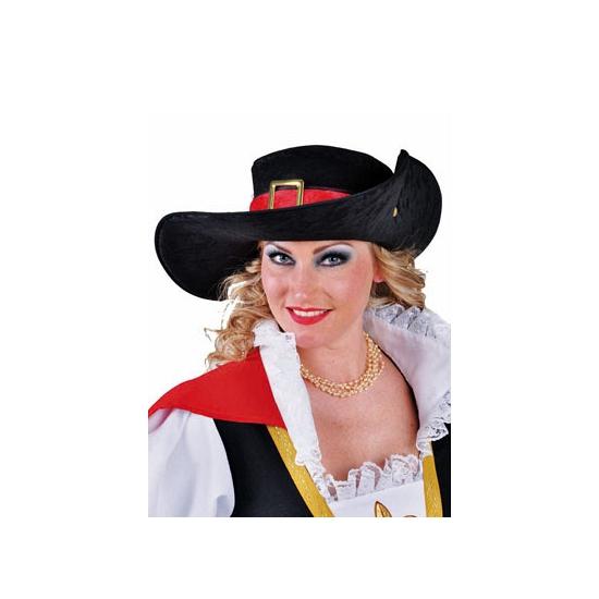Zwarte hoed met rode rand