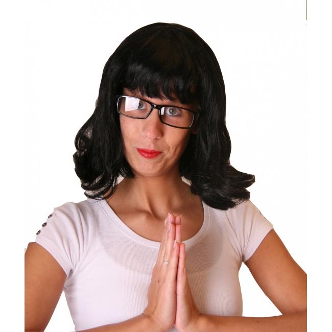 Zwarte korte damespruik met bril