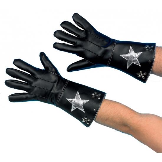 Zwarte nepleren handschoenen met ster