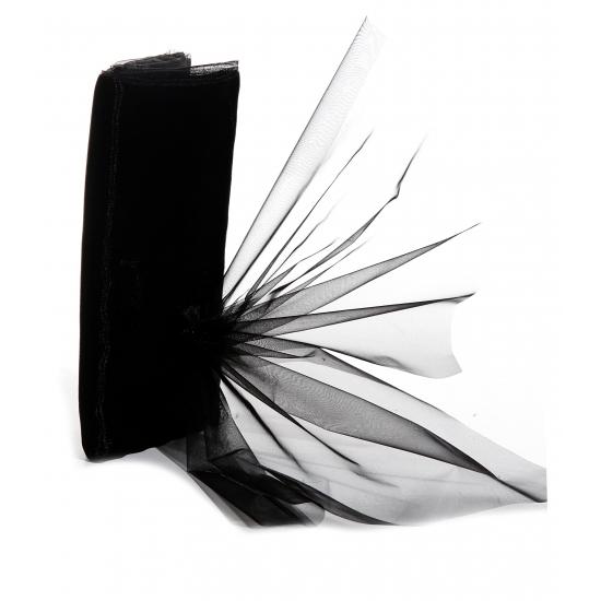 Zwarte organza stof 150 x 300 cm