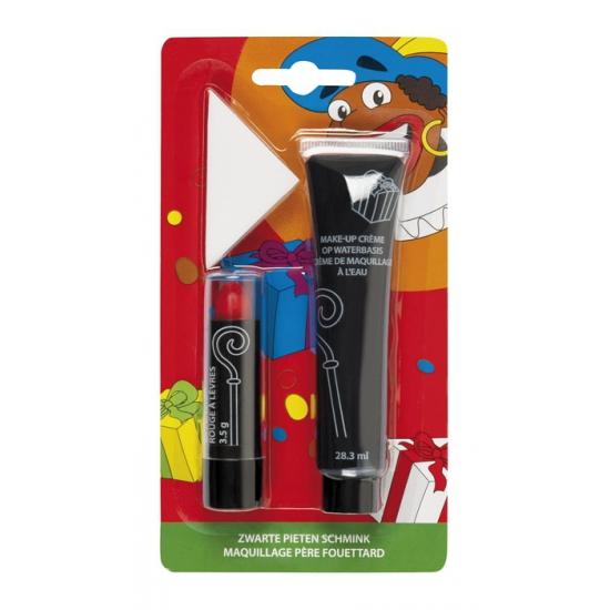 Zwarte Piet schmink set 3 delig